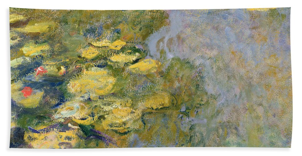 Impressionist Bath Towel featuring the painting The Waterlily Pond by Claude Monet