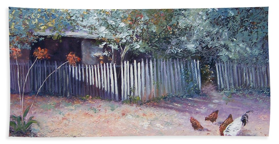 Picket Fence Hand Towel featuring the painting The White Picket Fence by Jan Matson