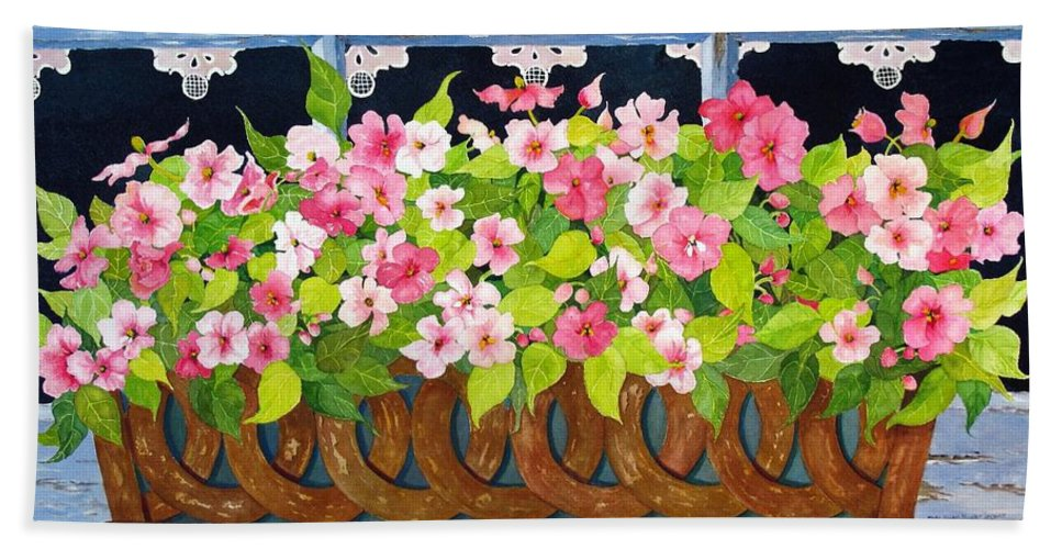Impatients Bath Sheet featuring the painting The Window Box by Mary Ellen Mueller Legault