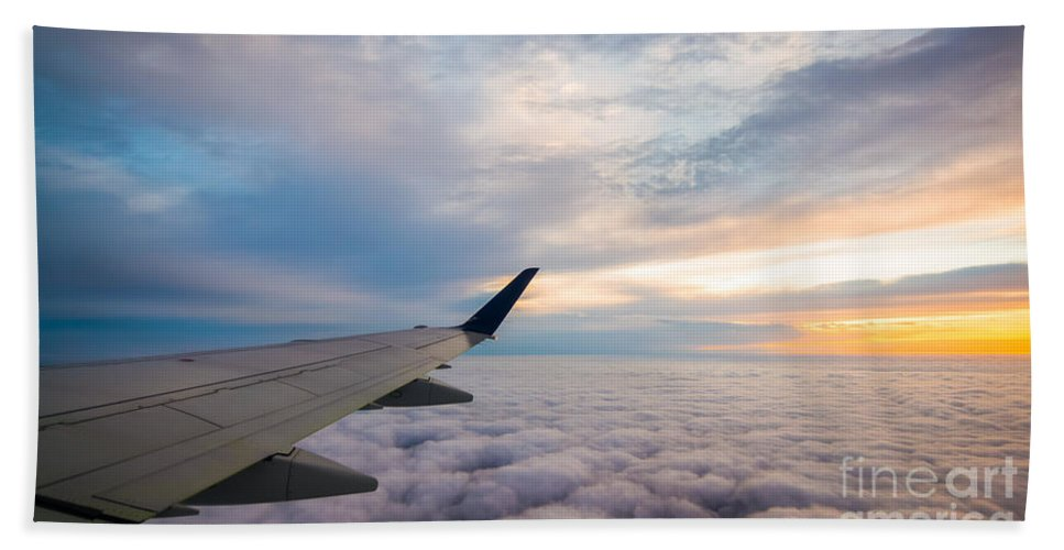 Above The Clouds Bath Sheet featuring the photograph The Window Seat by Michael Ver Sprill