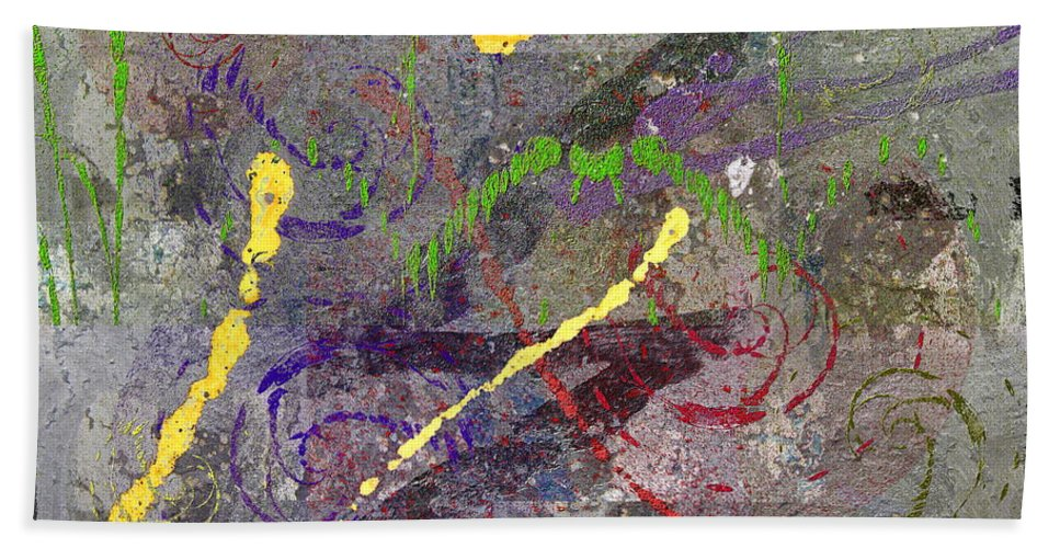Abstract Hand Towel featuring the digital art The Writing On The Wall 11 by Tim Allen