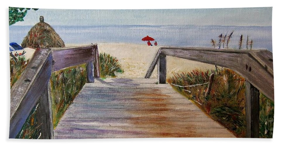 Walkway Bath Sheet featuring the painting To The Beach by Marilyn McNish
