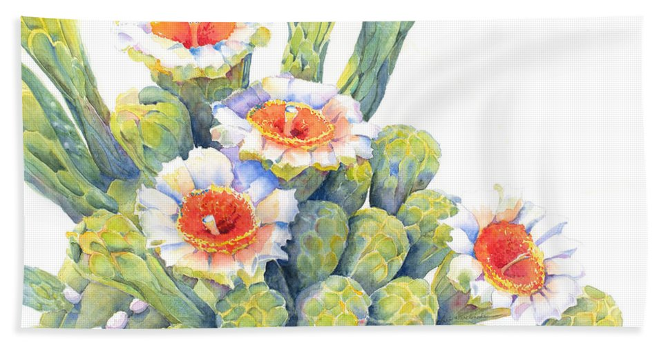 Cactus Hand Towel featuring the painting Top Bloomers by Deb Harclerode