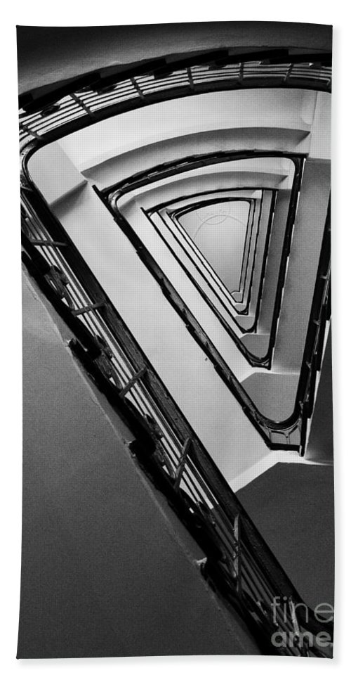 Interior View Hand Towel featuring the photograph Triangle Staircase by Jaroslaw Blaminsky