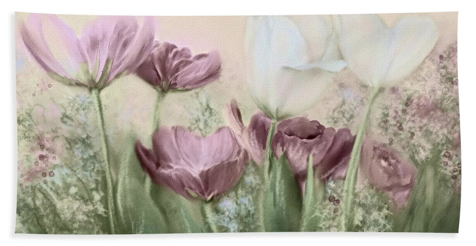 Tulip Bath Sheet featuring the painting Tulip Garden by Bonnie Willis