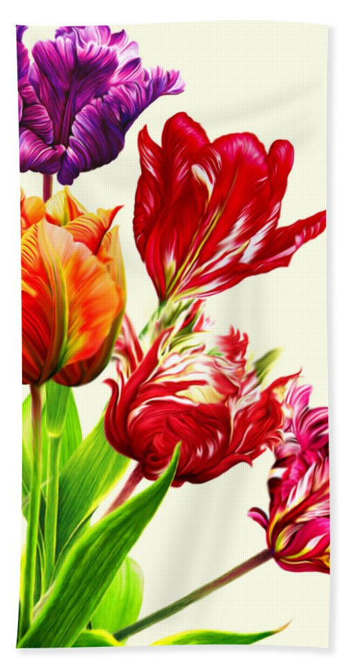 Colorful Tulips Hand Towel featuring the mixed media Tulips by Anthony Seeker