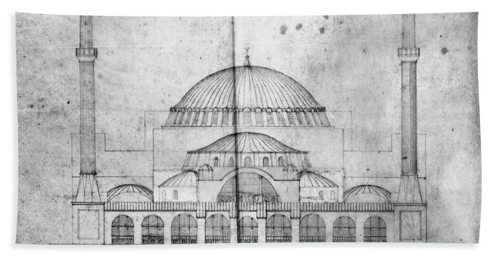 1830s Bath Towel featuring the photograph Turkey: Hagia Sophia, 1830s by Granger