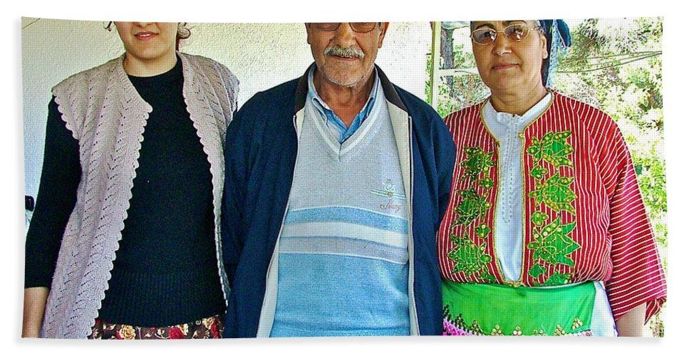 Turkish Family In Mountain Village Of Demircidere Koyu In Kozak Bath Sheet featuring the photograph Turkish Family In Demircidere Koyu In Kozak-turkey by Ruth Hager