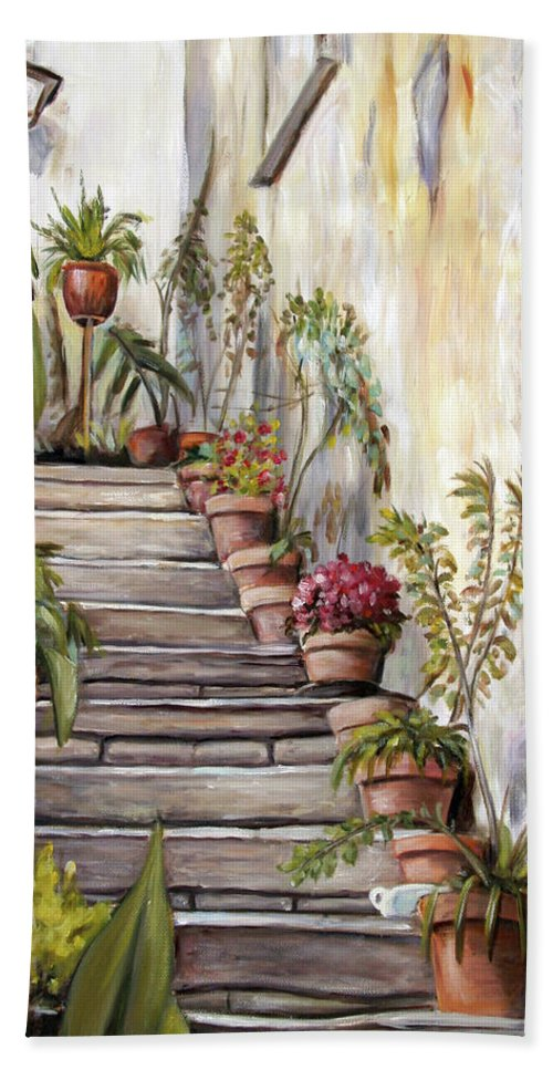 Tuscany Bath Sheet featuring the painting Tuscan Steps by Melinda Saminski