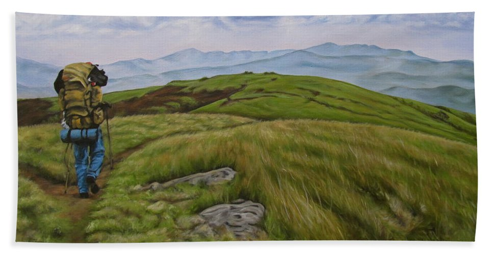 Hump Mountain Bath Sheet featuring the painting Two Paths Diverged On A Bald And Sorry I Could Not Travel Both by Ann Holder