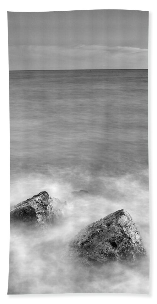 Black And White Bath Sheet featuring the photograph Two Stones Mono by Guido Montanes Castillo
