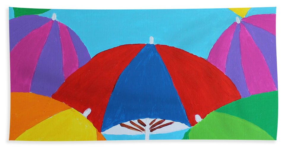 Umbrellas Bath Sheet featuring the mixed media Umbrellas by Deborah Boyd