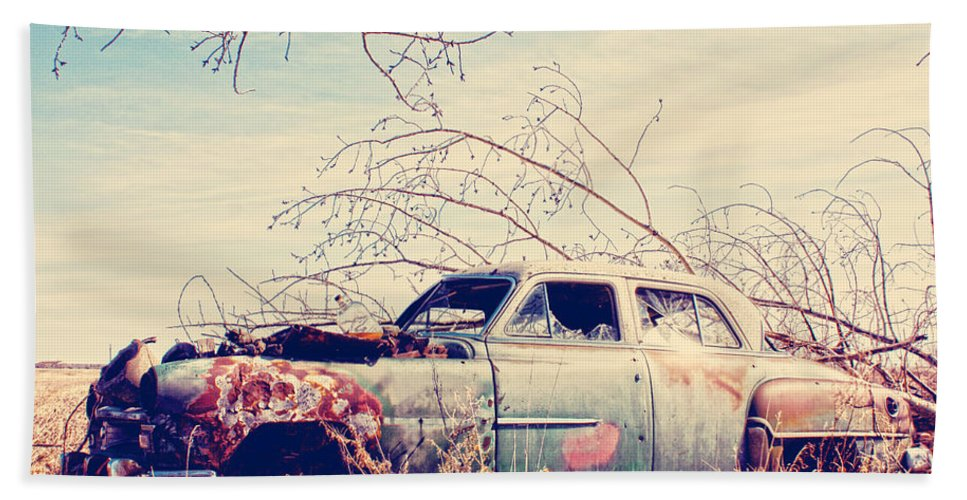 Old Car Bath Sheet featuring the photograph Under The Seat by The Artist Project