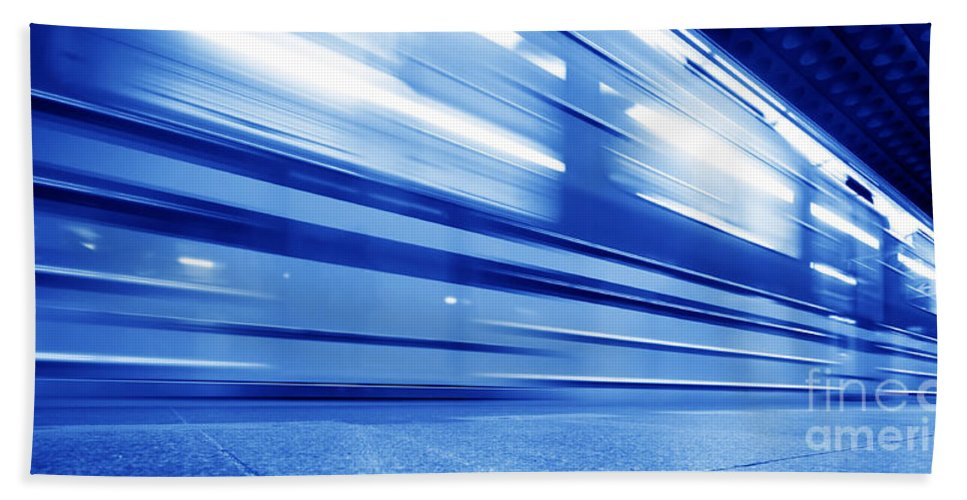 Background Bath Sheet featuring the photograph Underground Train Dynamic Motion by Michal Bednarek