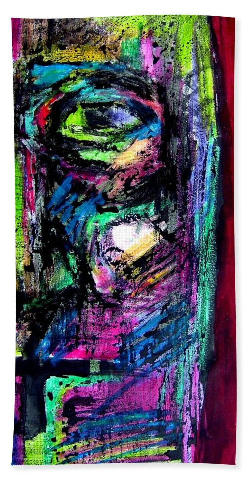 Portrait Bath Sheet featuring the painting Untitled by Margarita Souleiman