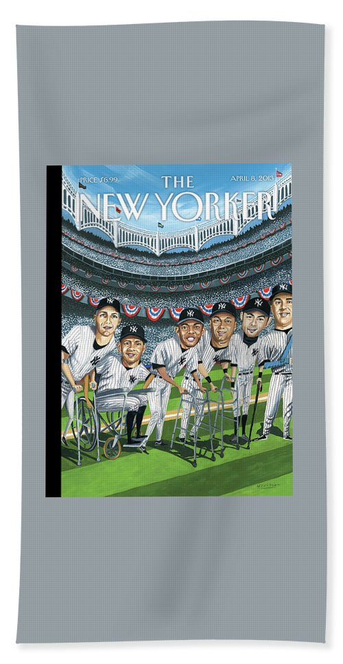 Yankees Bath Sheet featuring the painting New Yorker April 8th, 2013 by Mark Ulriksen