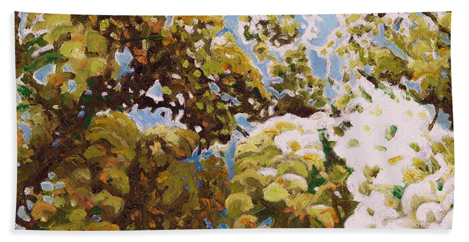 Wisteria Bath Sheet featuring the painting Up Into Wisteria by Helen White