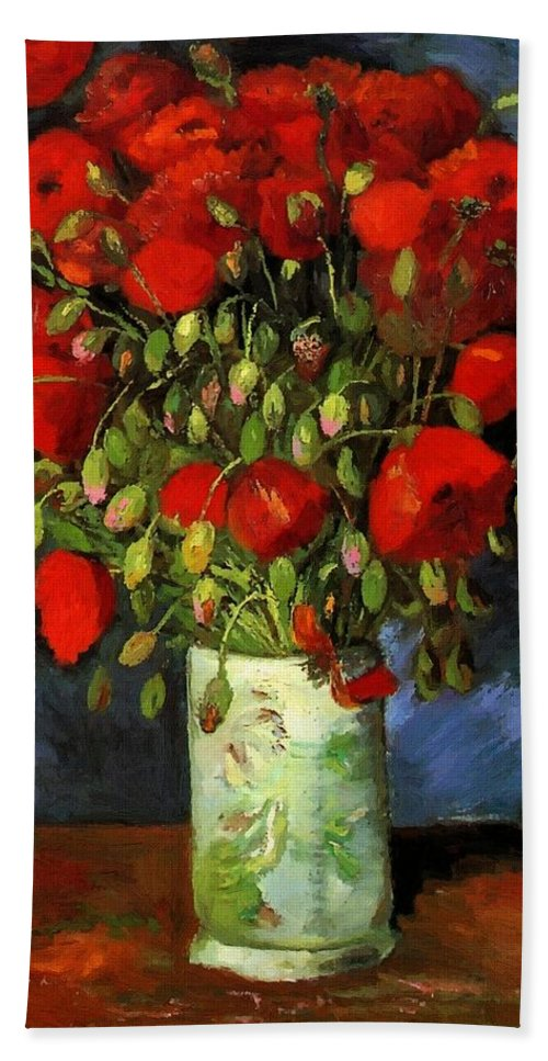 Vincent Van Gogh Hand Towel featuring the painting Vase With Red Poppies by Vincent Van Gogh