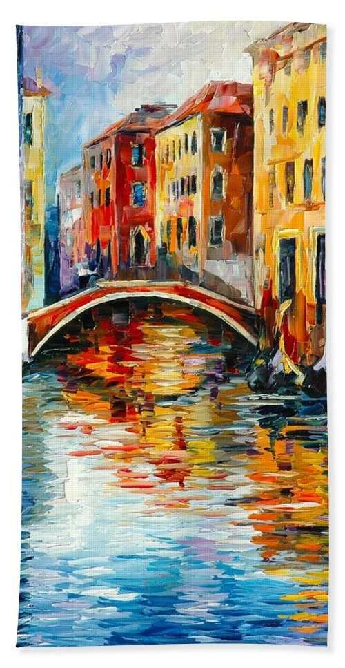 Venice Afremov Painting Palette Knife Art Handmade Surreal Abstract Oil Landscape Original Realism Unique Special Life Color Beauty Admiring Light Reflection Piece Renown Authenticity Smooth Certificate Colorful Beauty Perspective Golden Treasure Hand Towel featuring the painting Venice by Leonid Afremov