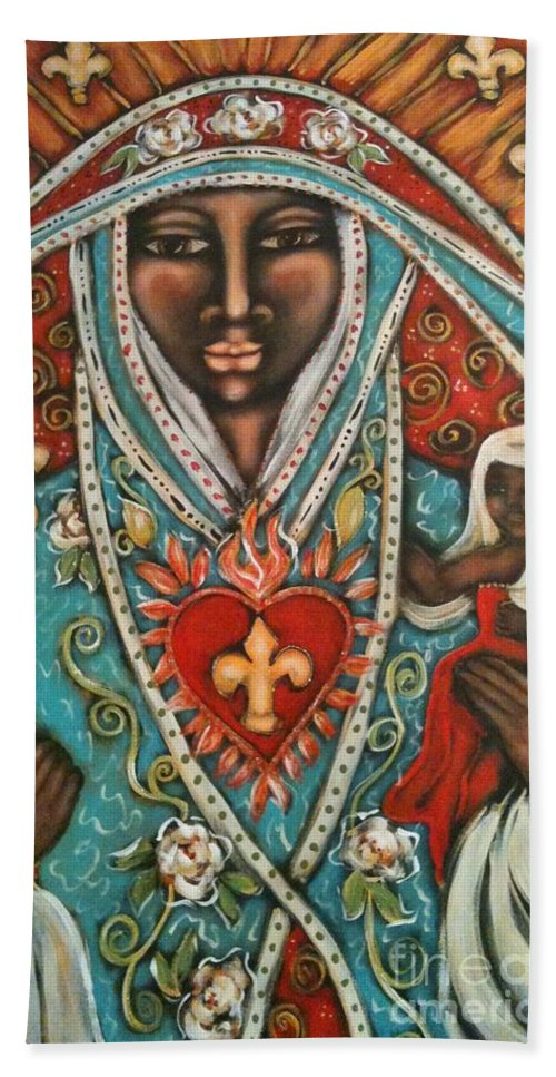 Sacred Art Hand Towel featuring the painting Vierge Noire De Paris by Maya Telford