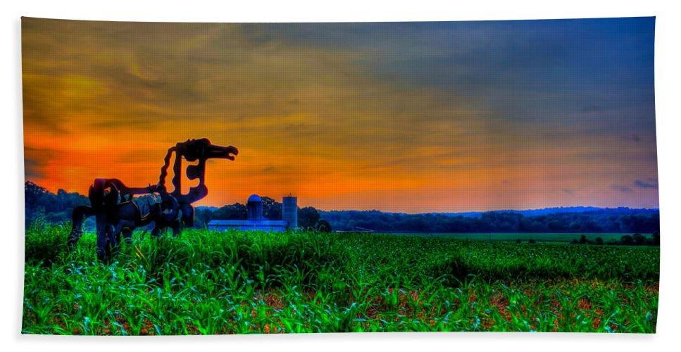 The Iron Horse Bath Sheet featuring the photograph Vigilant- The Iron Horse by Reid Callaway