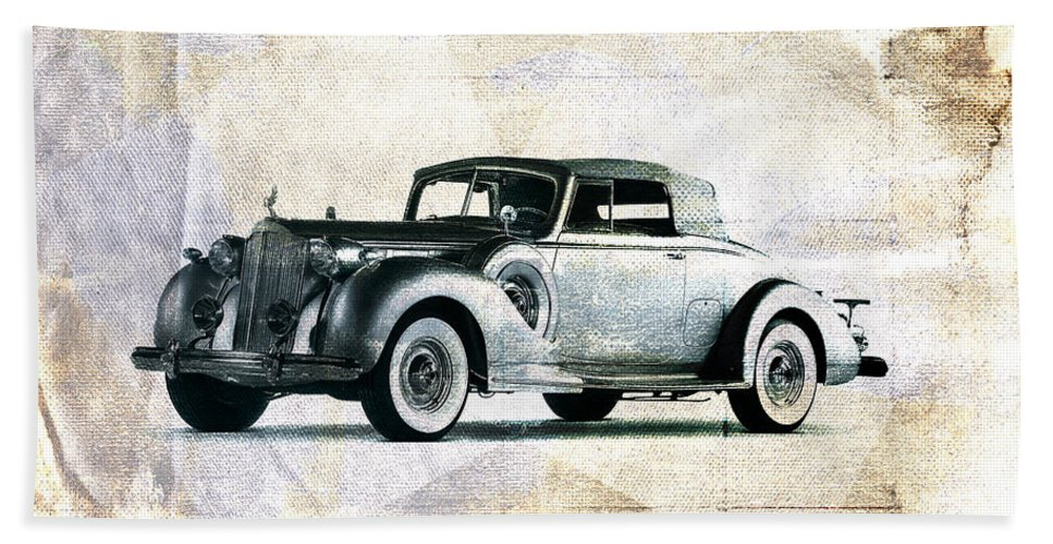 Car Hand Towel featuring the digital art Vintage Car by David Ridley