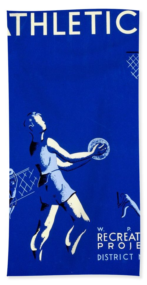 New Deal Bath Sheet featuring the photograph Vintage Poster - Wpa - Athletics 2 by Benjamin Yeager