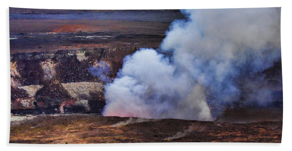 Volcano Hand Towel featuring the photograph Volcano Crater Big Island Hawaii by Douglas Barnard