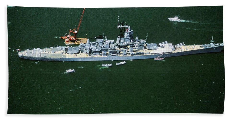 Photography Bath Sheet featuring the photograph War Ship In New York Harbor, New York by Panoramic Images