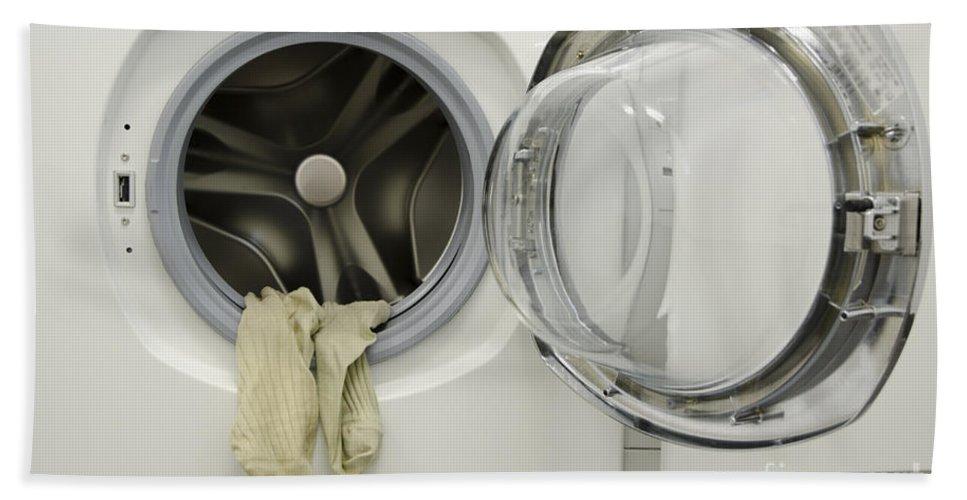 Washing Machine Hand Towel featuring the photograph Washing Machine by Mats Silvan