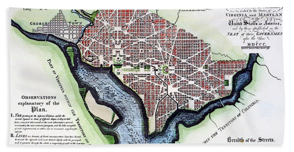 1792 Hand Towel featuring the photograph Washington, Dc, Plan, 1792 by Granger