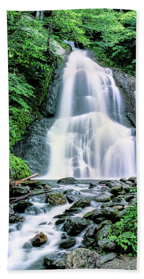 Photography Bath Sheet featuring the photograph Waterfall In A Forest, Moss Glen Falls by Panoramic Images