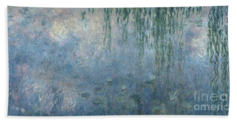 Blue Bath Towel featuring the painting Waterlilies Morning with Weeping Willows by Claude Monet