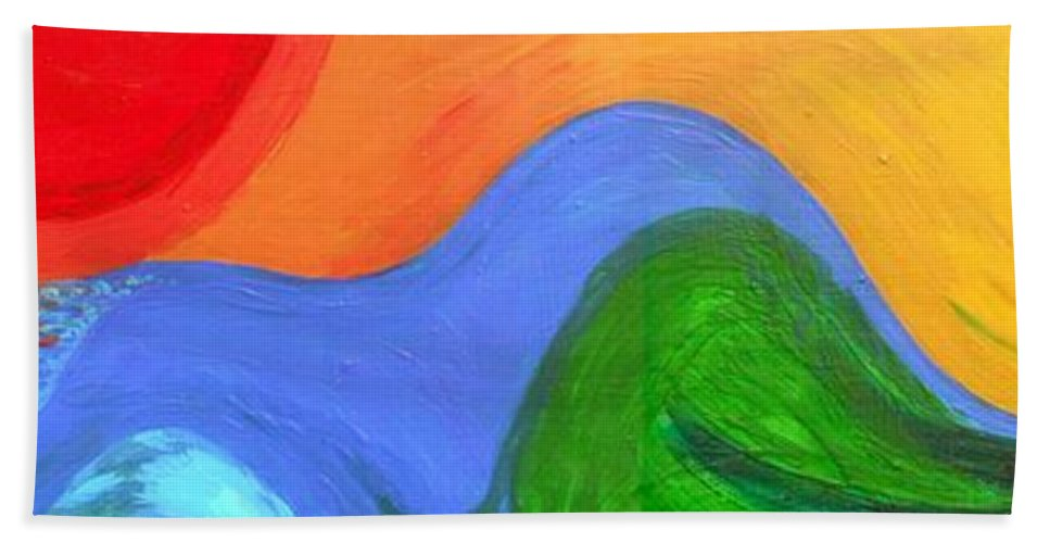 Wavelength Hand Towel featuring the painting Wavelength by Genevieve Esson