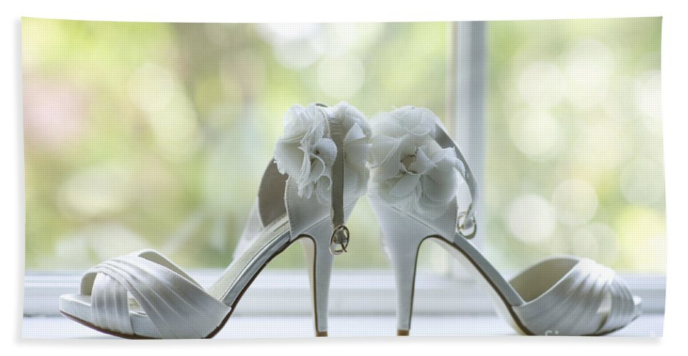 Wedding Hand Towel featuring the photograph Wedding Shoes by Lee Avison
