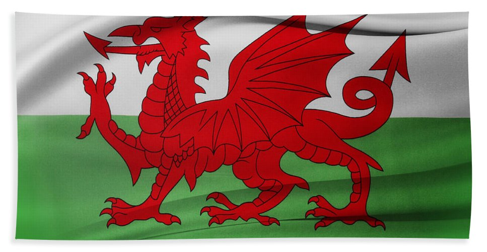 Color Bath Sheet featuring the photograph Welsh Flag by Les Cunliffe