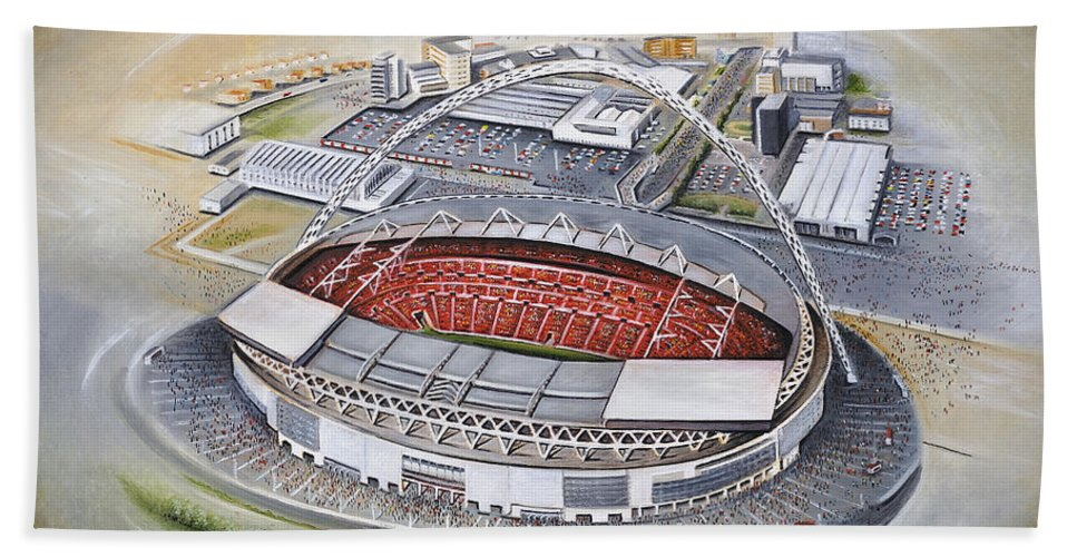 Art Bath Sheet featuring the painting Wembley Stadium by D J Rogers