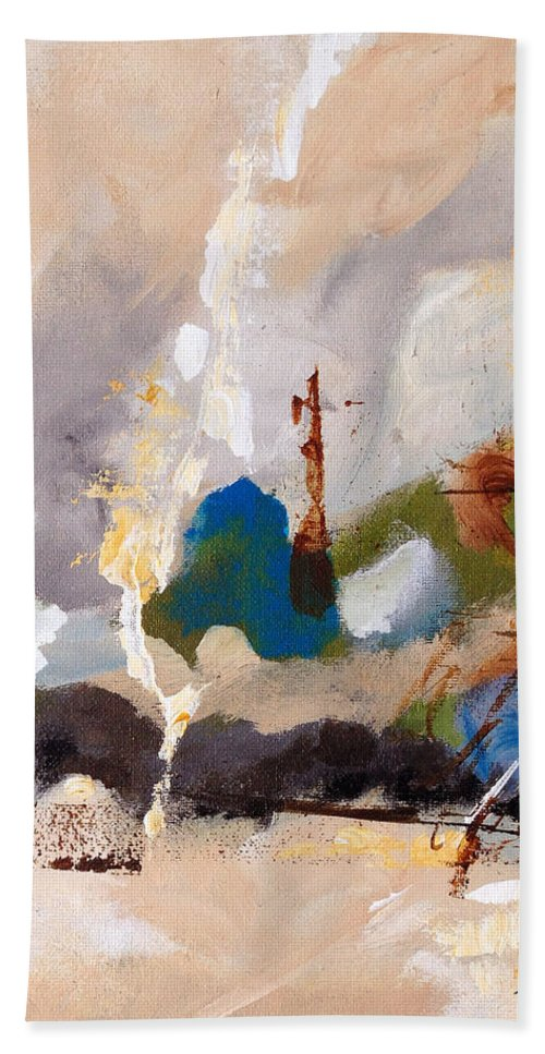 Abstract Bath Sheet featuring the painting Wharf by Ruth Palmer