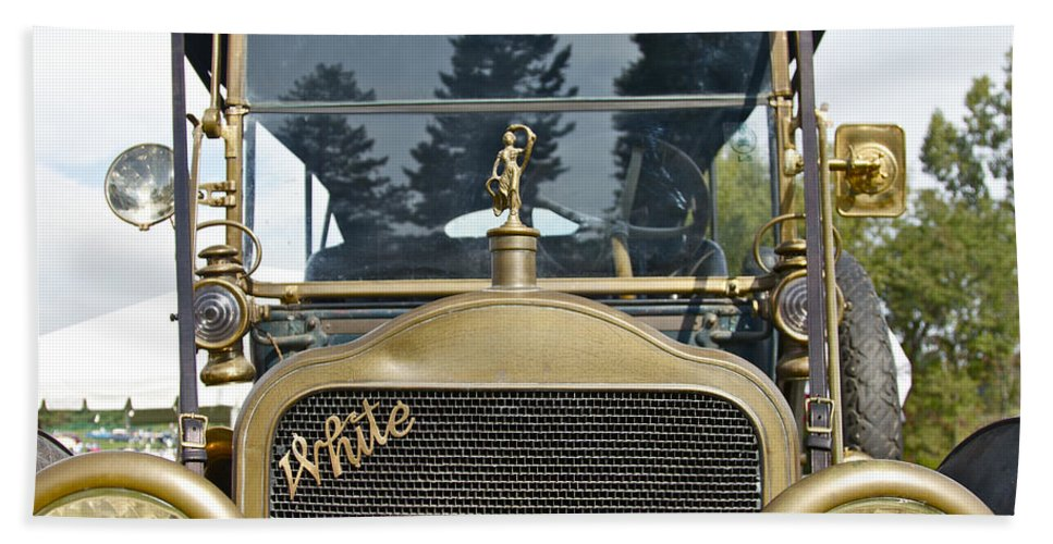 Antique Hand Towel featuring the photograph White Motors by Jack R Perry