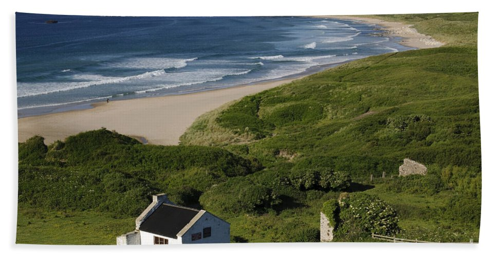 County Antrim Hand Towel featuring the photograph White Park Bay, Ireland by John Shaw