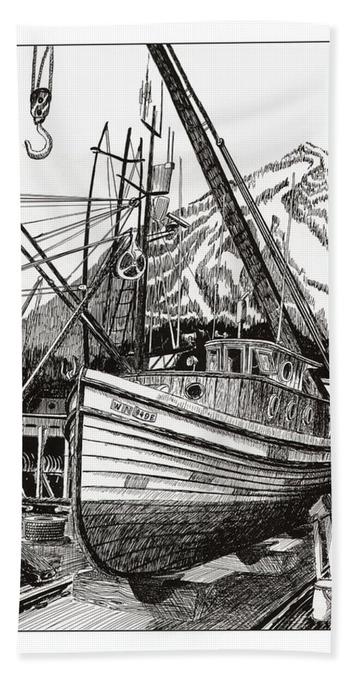 Commercial Fishing Boat Art Bath Sheet featuring the drawing Will Fish Again Another Day by Jack Pumphrey