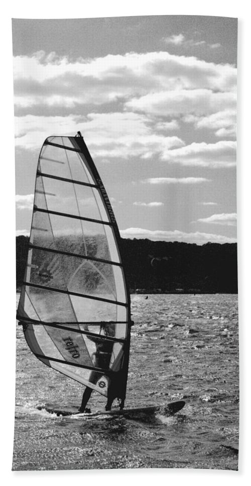 Sandy Hand Towel featuring the photograph Wind Surfer Bw by Pablo Rosales