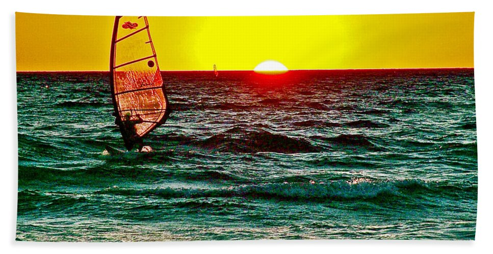 Windsurfer At Sunset On Lake Michigan From Empire Bath Towel featuring the photograph Windsurfer At Sunset On Lake Michigan From Empire-michigan by Ruth Hager