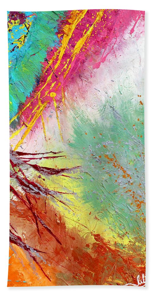Abstract Paintings Hand Towel featuring the painting Modern Abstract Diptych Part 2 by Julia Apostolova