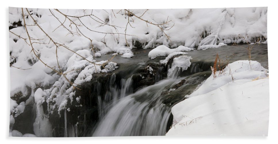 Waterfall Hand Towel featuring the photograph Winter Falls On Big Stone Lake by Lori Tordsen