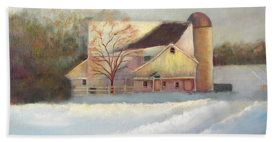 Winter Bath Sheet featuring the painting Winter Hush Holiday Card1 by Loretta Luglio