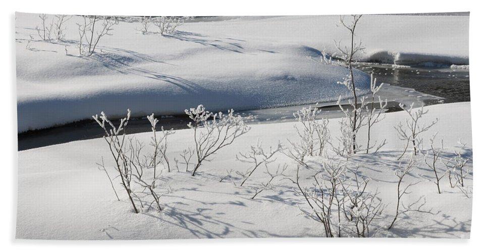 Nature Bath Sheet featuring the photograph Winter Stream, Jasper National Park by John Shaw