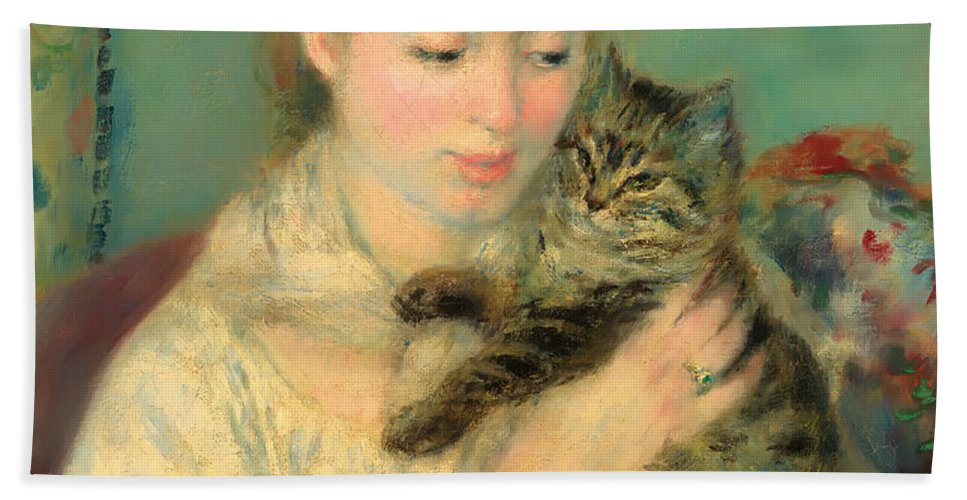 Woman Bath Sheet featuring the painting Woman With A Cat by Mountain Dreams