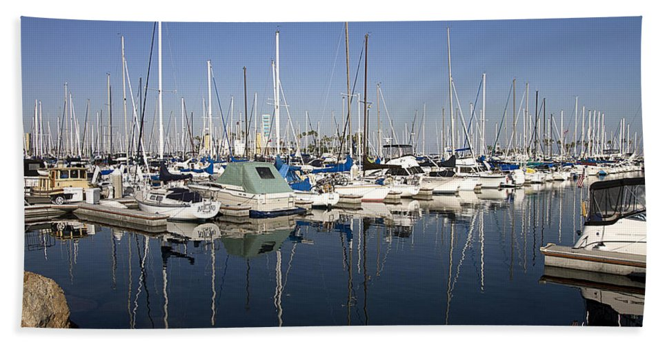Yacht Hand Towel featuring the photograph Yachts In Shoreline Marina Long Beach California by Peter Lloyd