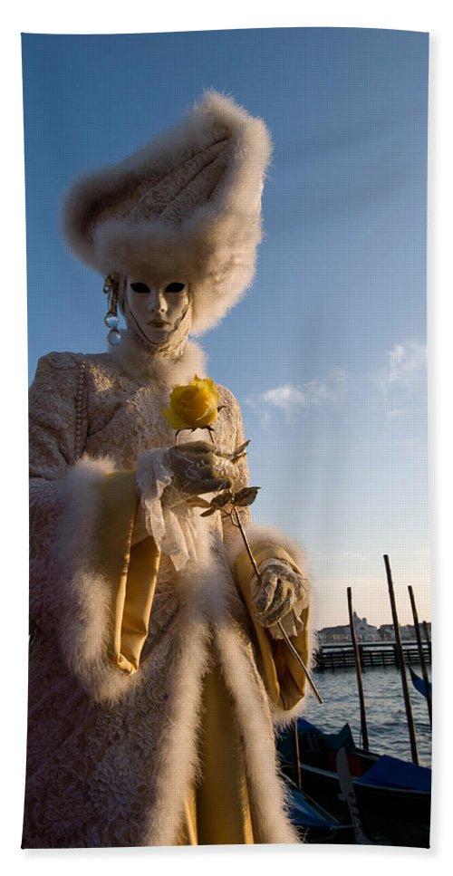 Aristocrat Hand Towel featuring the photograph Venetian Carnival. Yellow Rose Charmer By Zina Zinchik by Zina Zinchik